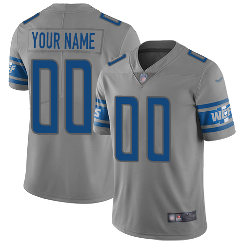 Nike Detroit Lions Customized Gray Men's Stitched NFL Limited Inverted Legend Jersey