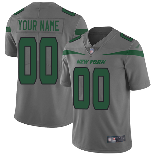 Nike New York Jets Customized Gray Men's Stitched NFL Limited Inverted Legend Jersey