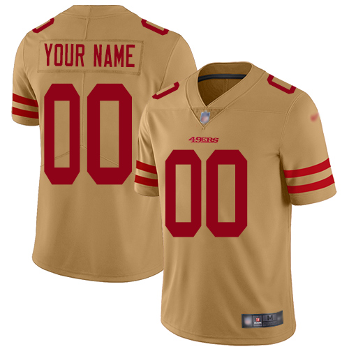 Nike San Francisco 49ers Customized Gold Men's Stitched NFL Limited Inverted Legend Jersey