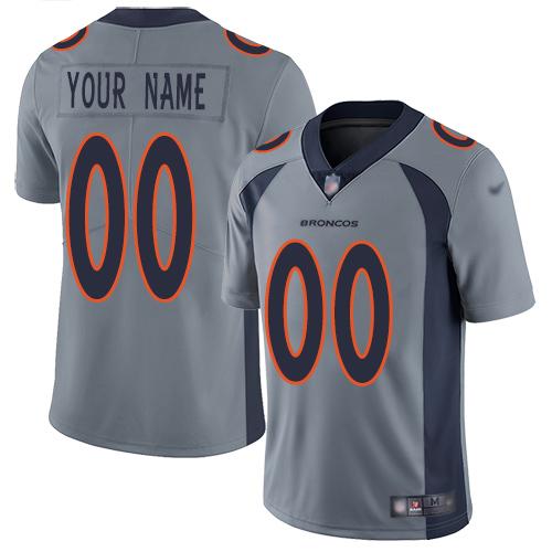 Nike Denver Broncos Customized Gray Men's Stitched NFL Limited Inverted Legend Jersey
