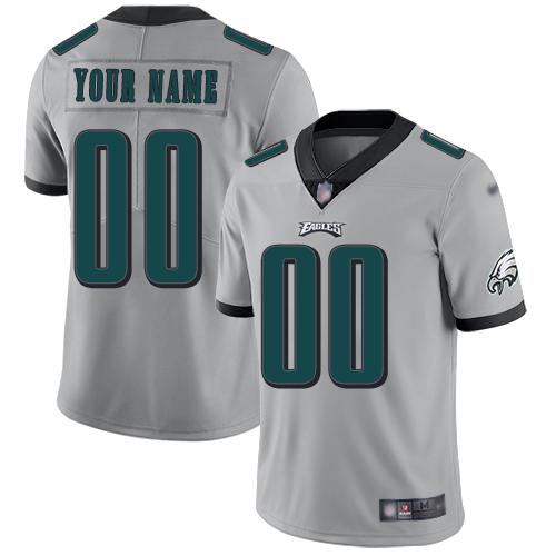 Nike Philadelphia Eagles Customized Silver Men's Stitched NFL Limited Inverted Legend Jersey