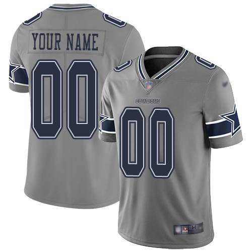 Nike Dallas Cowboys Customized Gray Men's Stitched NFL Limited Inverted Legend Jersey