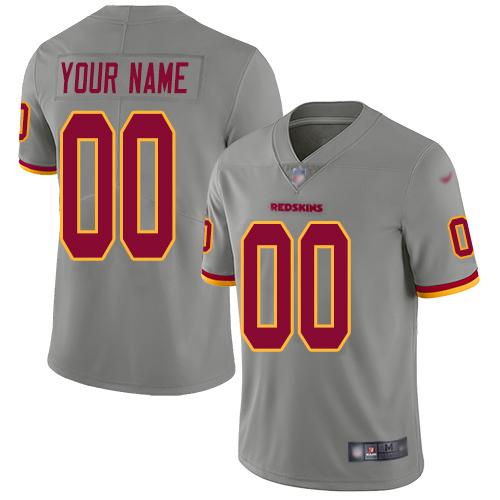 Nike Washington Redskins Customized Gray Men's Stitched NFL Limited Inverted Legend Jersey