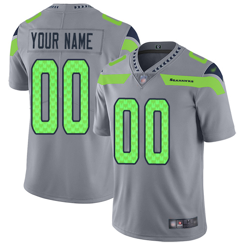 Nike Seattle Seahawks Customized Gray Men's Stitched NFL Limited Inverted Legend Jersey
