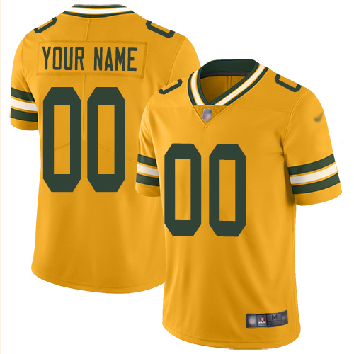 Nike Green Bay Packers Customized Gold Men's Stitched NFL Limited Inverted Legend Jersey