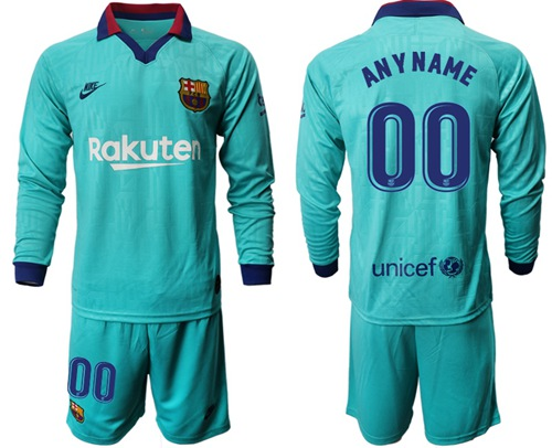 Barcelona Personalized Third Long Sleeves Soccer Club Jersey