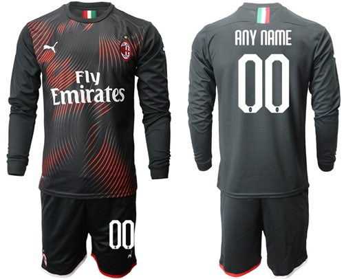 AC Milan Personalized Third Long Sleeves Soccer Club Jersey