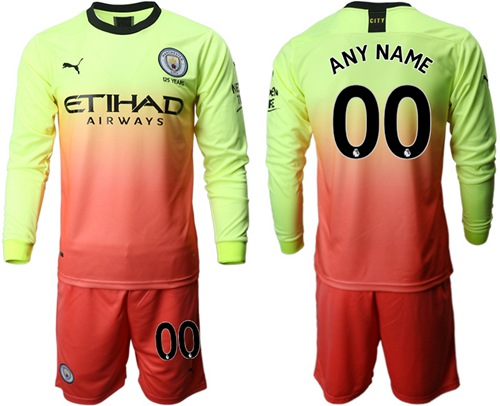 Manchester City Personalized Third Long Sleeves Soccer Club Jersey