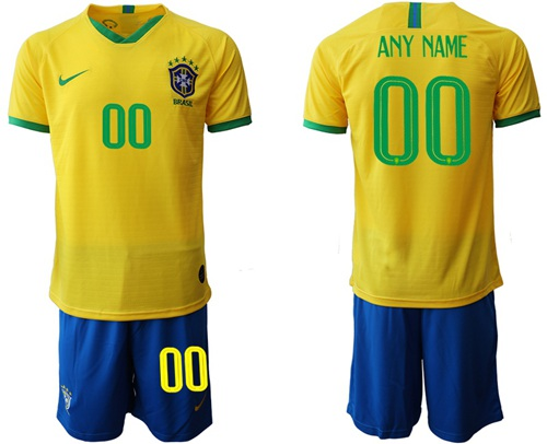 Brazil Personalized Home Soccer Country Jersey