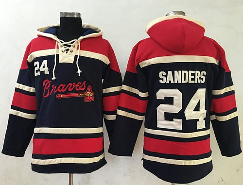 Braves #24 Deion Sanders Navy Blue Sawyer Hooded Sweatshirt MLB Hoodie