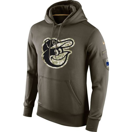Men's Baltimore Orioles Nike Olive Salute To Service KO Performance Hoodie