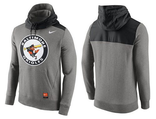 Men's Baltimore Orioles Nike Gray Cooperstown Collection Hybrid Pullover Hoodie