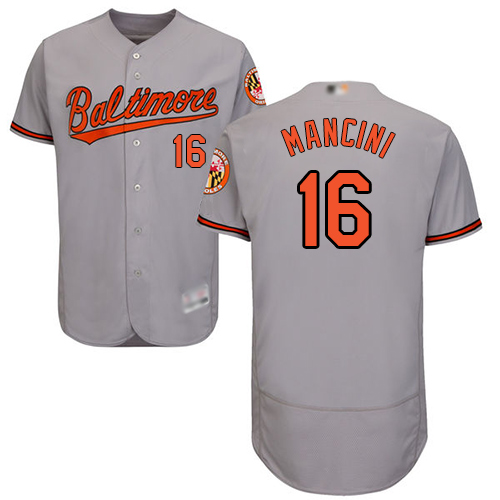 Orioles #16 Trey Mancini Grey Flexbase Authentic Collection Stitched MLB Jersey