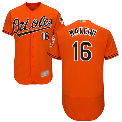 Orioles #16 Trey Mancini Orange Flexbase Authentic Collection Stitched MLB Jersey