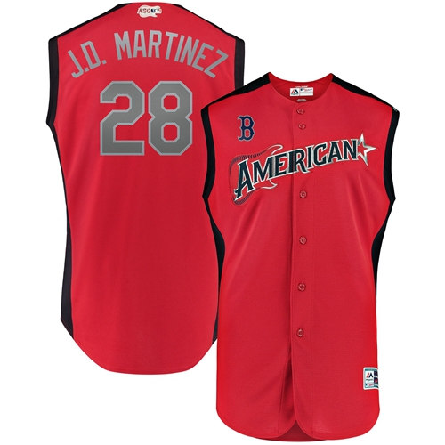 Red Sox #28 J. D. Martinez Red 2019 All-Star American League Stitched MLB Jersey