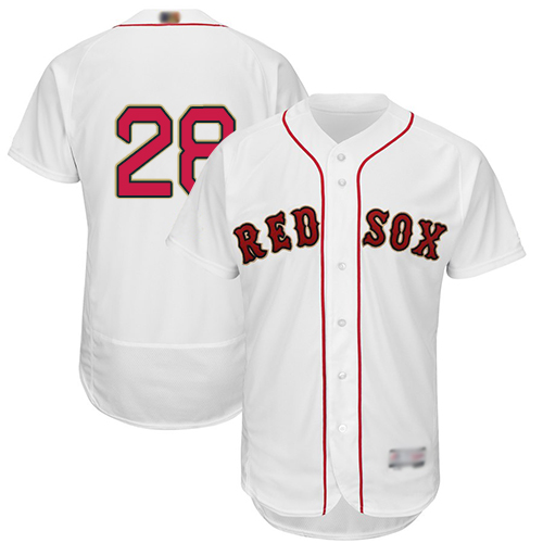 Red Sox #28 J. D. Martinez White FlexBase Authentic 2019 Gold Program Cool Base Stitched MLB Jersey