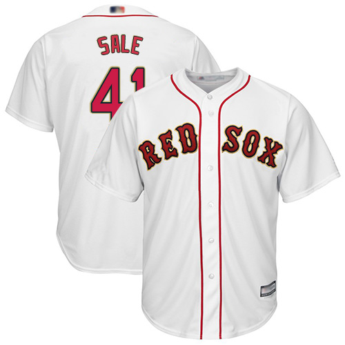 Red Sox #41 Chris Sale White 2019 Gold Program Cool Base Stitched MLB Jersey