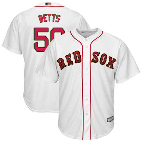 Red Sox #50 Mookie Betts White 2019 Gold Program Cool Base Stitched MLB Jersey