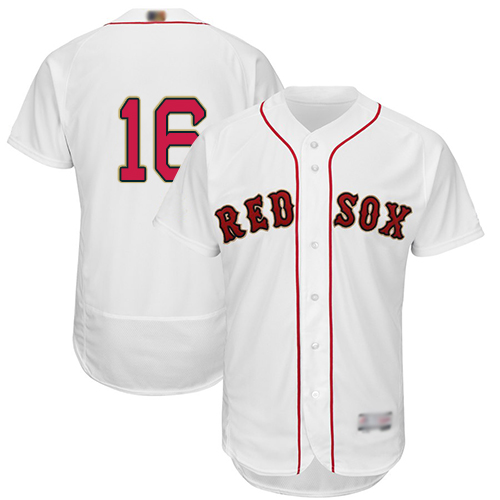 Red Sox #16 Andrew Benintendi White FlexBase Authentic 2019 Gold Program Cool Base Stitched MLB Jersey