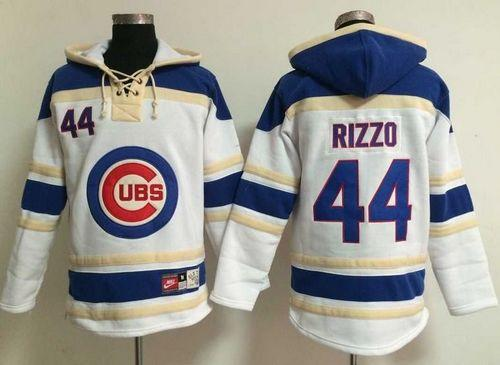 Cubs #44 Anthony Rizzo White Sawyer Hooded Sweatshirt MLB Hoodie