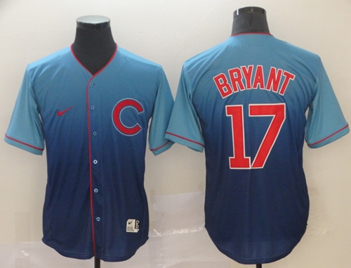 Nike Cubs #17 Kris Bryant Royal Fade Authentic Stitched MLB Jersey