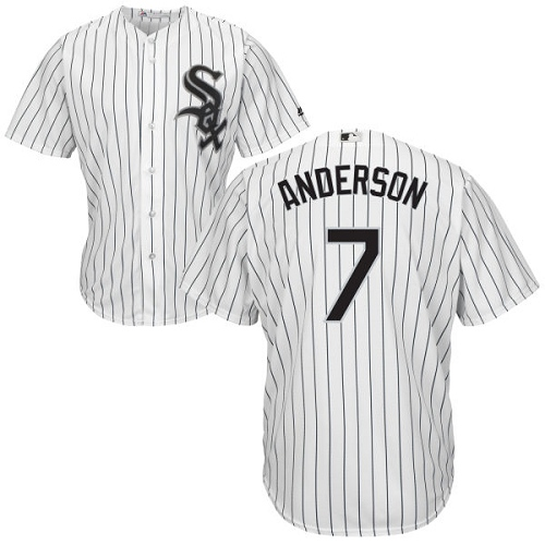 White Sox #7 Tim Anderson White(Black Strip) New Cool Base Stitched MLB Jersey
