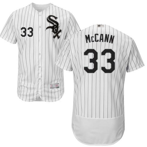 White Sox #33 James McCann White(Black Strip) Flexbase Authentic Collection Stitched MLB Jersey