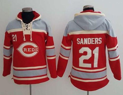 Reds #21 Reggie Sanders Red Sawyer Hooded Sweatshirt MLB Hoodie