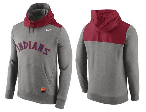 Men's Cleveland Indians Nike Gray Cooperstown Collection Hybrid Pullover Hoodie