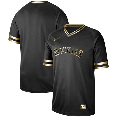 Nike Rockies Blank Black Gold Authentic Stitched MLB Jersey