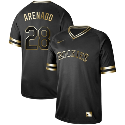 Nike Rockies #28 Nolan Arenado Black Gold Authentic Stitched MLB Jersey