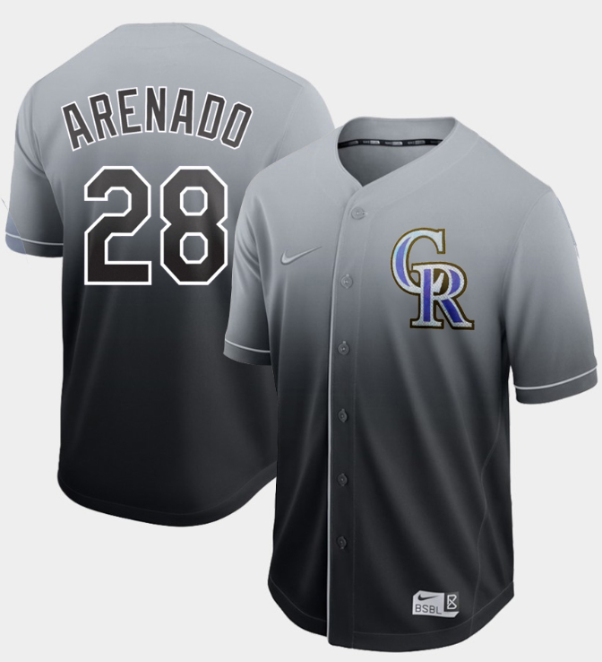 Nike Rockies #28 Nolan Arenado Black Fade Authentic Stitched MLB Jersey