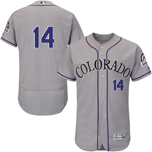 Rockies #14 Tony Wolters Grey Flexbase Authentic Collection Stitched MLB Jersey