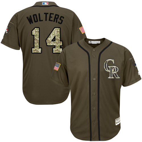 Rockies #14 Tony Wolters Green Salute to Service Stitched MLB Jersey