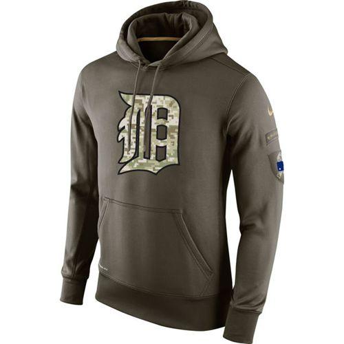 Men's Detroit Tigers Nike Olive Salute To Service KO Performance Hoodie