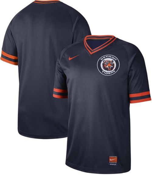 Nike Tigers Blank Navy Authentic Cooperstown Collection Stitched MLB Jersey