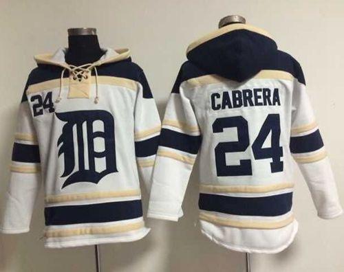 Tigers #24 Miguel Cabrera White Sawyer Hooded Sweatshirt MLB Hoodie