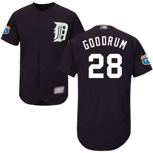 Tigers #28 Niko Goodrum Navy Blue Flexbase Authentic Collection Stitched MLB Jersey