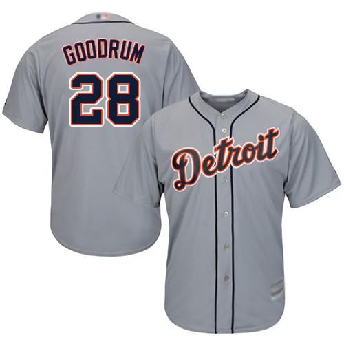 Tigers #28 Niko Goodrum Grey New Cool Base Stitched MLB Jersey