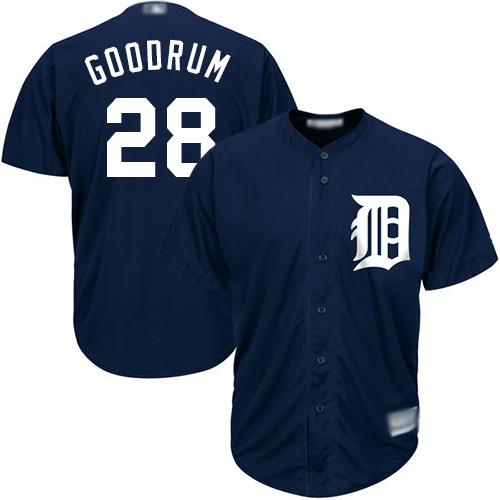 Tigers #28 Niko Goodrum Navy Blue New Cool Base Stitched MLB Jersey