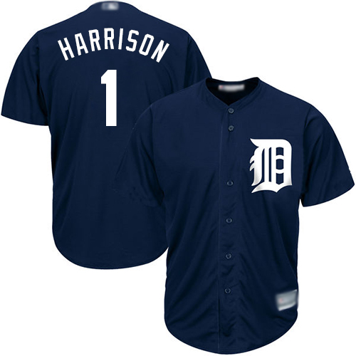 Tigers #1 Josh Harrison Navy Blue New Cool Base Stitched MLB Jersey