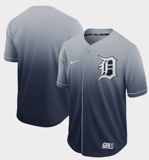 Nike Tigers Blank Navy Fade Authentic Stitched MLB Jersey