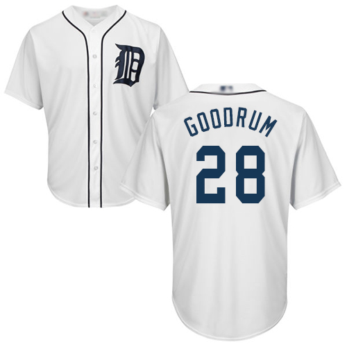 Tigers #28 Niko Goodrum White New Cool Base Stitched MLB Jersey