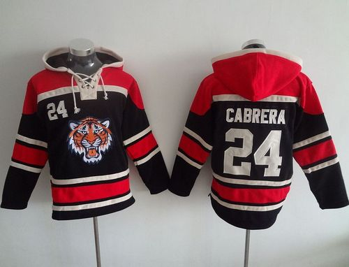 Tigers #24 Miguel Cabrera Black Sawyer Hooded Sweatshirt MLB Hoodie