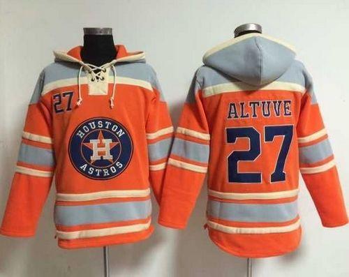 Astros #27 Jose Altuve Orange Sawyer Hooded Sweatshirt MLB Hoodie