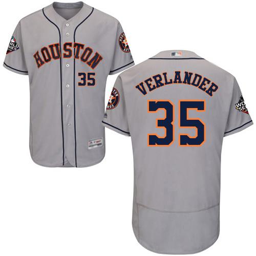 Astros #35 Justin Verlander Grey Flexbase Authentic Collection 2019 World Series Bound Stitched MLB Jersey