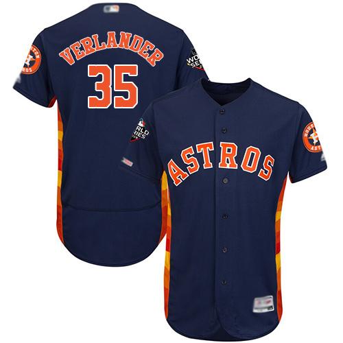 Astros #35 Justin Verlander Navy Blue Flexbase Authentic Collection 2019 World Series Bound Stitched MLB Jersey