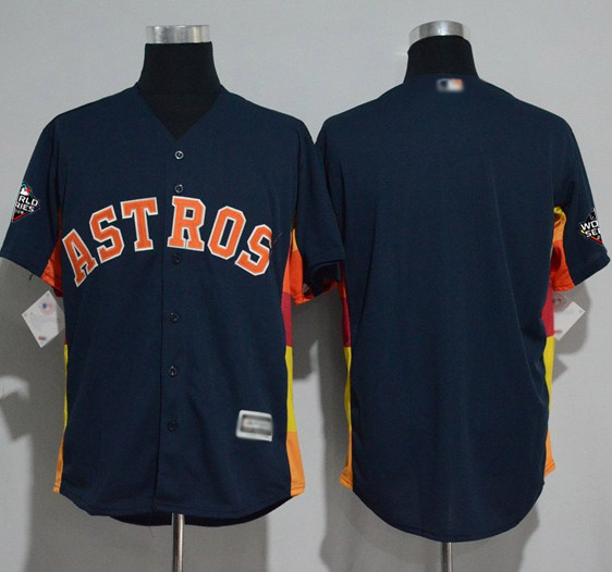 Astros Blank Navy Blue New Cool Base 2019 World Series Bound Stitched MLB Jersey