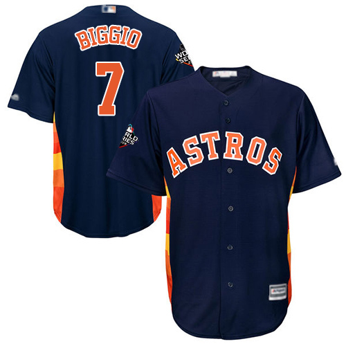 Astros #7 Craig Biggio Navy Blue New Cool Base 2019 World Series Bound Stitched MLB Jersey