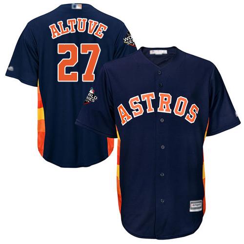 Astros #27 Jose Altuve Navy Blue New Cool Base 2019 World Series Bound Stitched MLB Jersey
